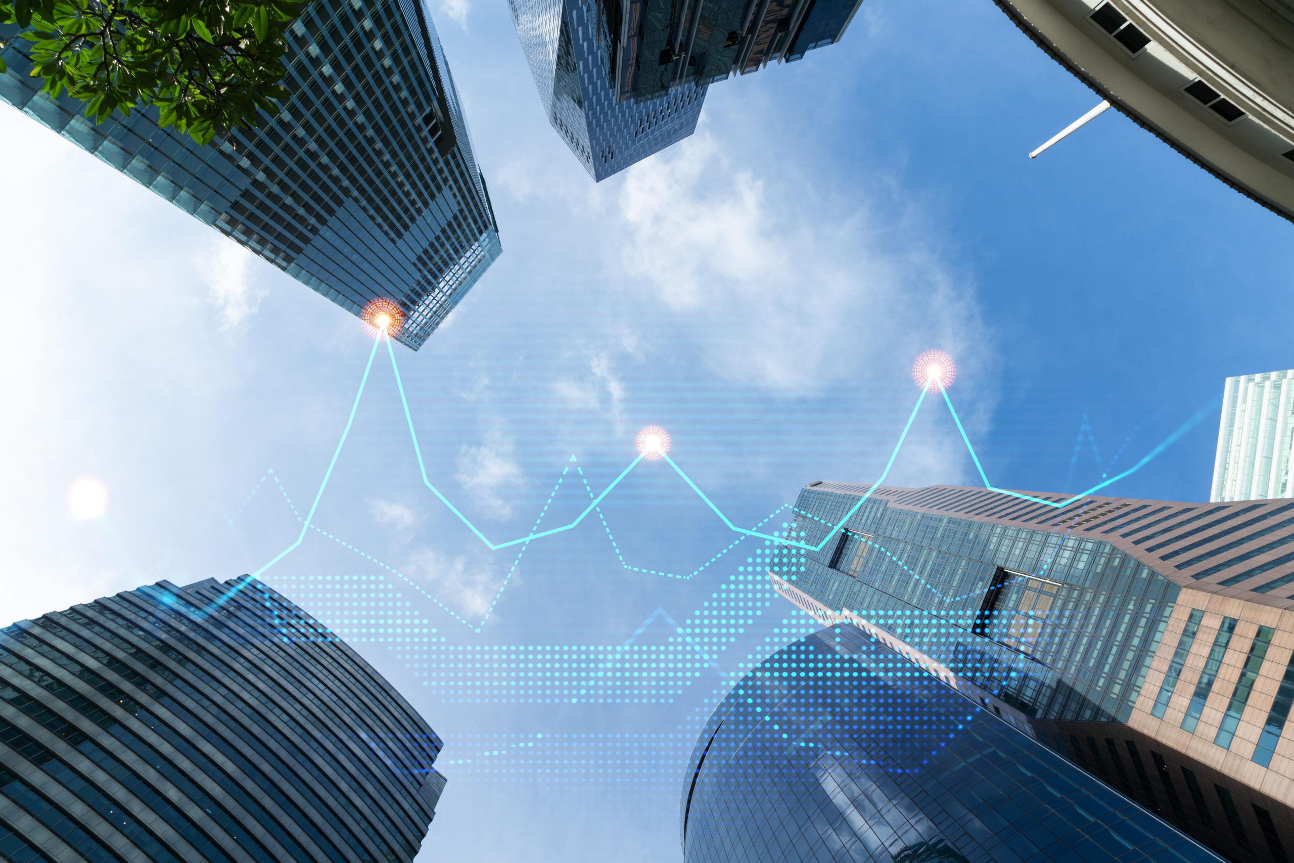 Financial stock chart hologram